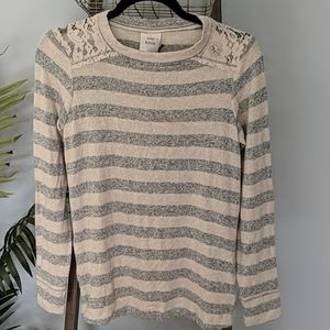 Oatmeal Stripe Lace Shoulder Trim Sweater NWT